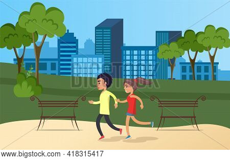 Running Man And Woman Outdoor. Couple Jogging In Morning Park. Young Guy And Girl Doing Sports In Na