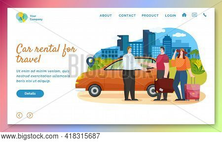 Car Rental And Traveling By Vehicle With Family. People Searching Adventures Rent Automobile. Travel