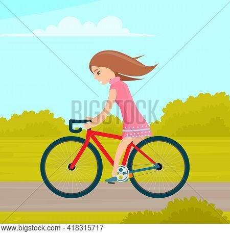 Girl Riding In Park. Woman Rides Bicycle On Park Road. Female Character Doing Sports Outdoors. Sport
