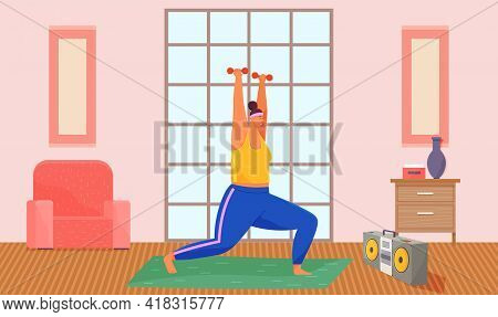 Fat Woman Training With Dumbbells At Home, Cartoon Vector Illustration. Obese, Fat, Chubby Woman Doi