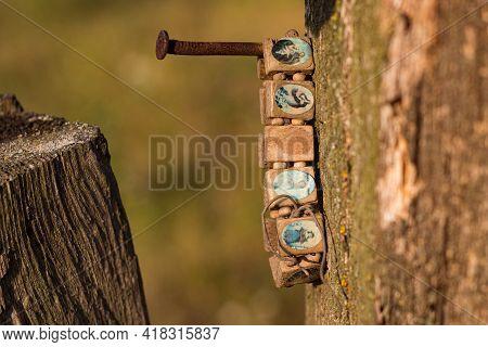Brown Rosary Icon Bracelet, Wooden Religious Bracelet, Saint Bracelet, Christian Bracelet Icon, Lost