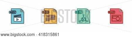 Set Mov File Document, Doc, Obj And Bmp Icon. Vector