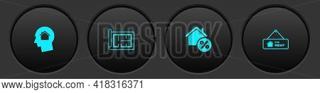 Set Man Dreaming About Buying House, House Plan, With Percant And Hanging Sign For Rent Icon. Vector