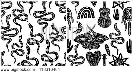 Seamless Celestial Pattern Set, Black-white Boho Symbols Seamless Pattern. Silhouettes Of Rainbow, G