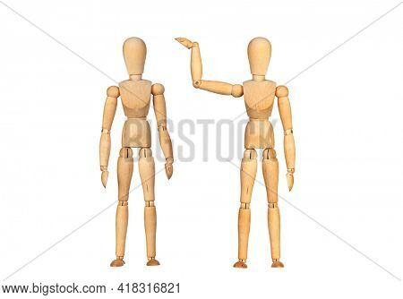 Many wooden mannequin doing differents gestures isolated on a white background
