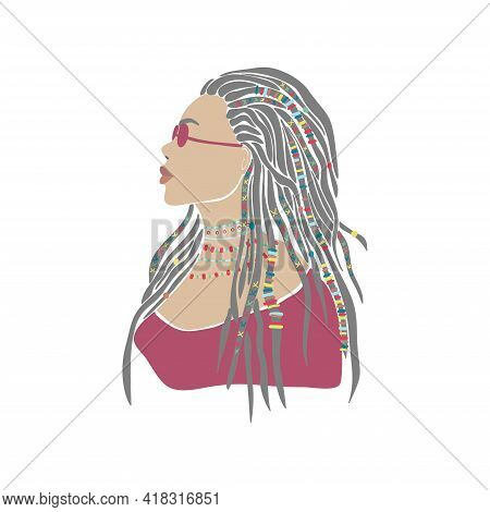 American Woman Braids African Drawn For Design. Young Lady Portrait In Glasses. Oriental People. Boh