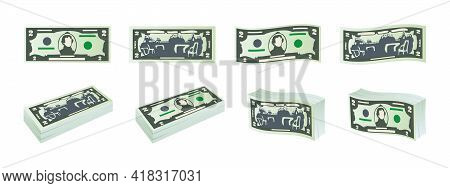 Money Icons. Two Dollar Bills. Dollars Banknotes From Front And Reverse Side. Dollar's Banknotes Set