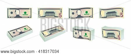 Money Icons. Five Dollar Bills. Dollars Banknotes From Front And Reverse Side. Dollar's Banknotes Se