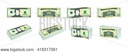 Dollars Icons. Twenty Dollar Bills. Dollars Banknotes From Front And Reverse Side. Dollar's Banknote