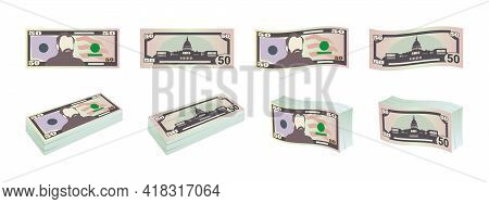 Money. Fifty Dollar Bills. Dollars Banknotes From Front And Reverse Side. Dollar's Banknotes Set. Ve