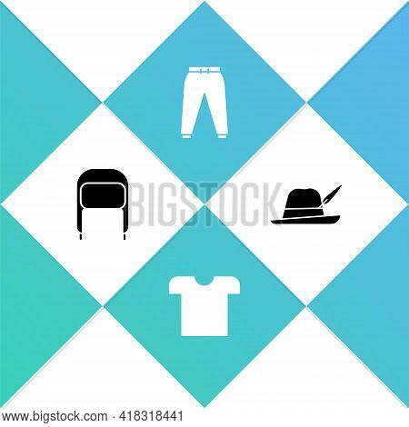 Set Winter Hat With Ear Flaps, T-shirt, Sport Pants And Oktoberfest Icon. Vector
