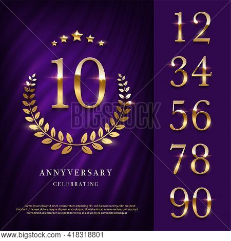 Anniversary Logo With Golden Numbers Template. 10th Birthday, Jubilee Or Wedding With Laurel Sign Ve