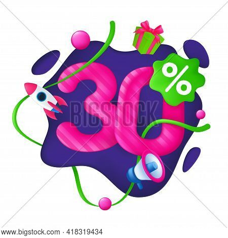 30 Percent Discount Price Tag. 30% Special Offer Promotion Label. Sale Badge With Advertising Symbol