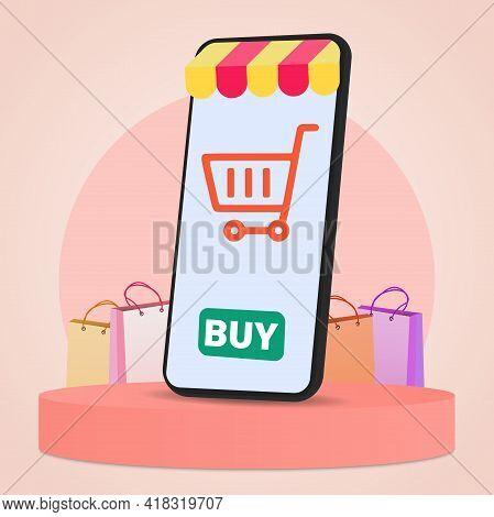 The Concept Of Online Shopping With A Mobile Phone Store On A Circular Podium. A Mobile Phone On A R