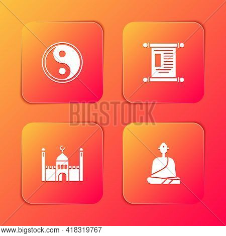 Set Yin Yang, Decree, Paper, Parchment, Scroll, Muslim Mosque And Buddhist Monk Icon. Vector