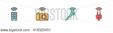 Set Smart Home With Wireless, Photo Camera, Wireless Microphone And Electric Plug Icon. Vector