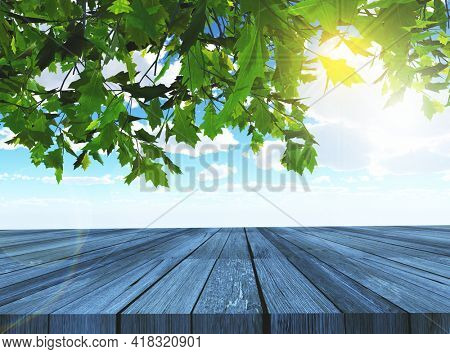 3D render of trees and wooden table looking out to a blue sky