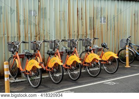 New Taipei city, Taiwan - June 14th, 2020: Ubike, a bike sharing system service used by citizens as short-distance transit vehicles at street in New Taipei city, Taiwan