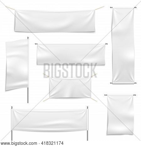 Textile Advertising Banners. White Empty Hanging Banner Collection, Realistic Flags On Chrome Stand,