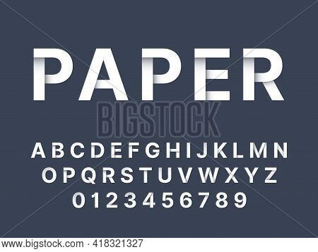 Origami Font. White Folded Paper Latin Letters And Numbers, Modern English Alphabet, Handcrafted Sim