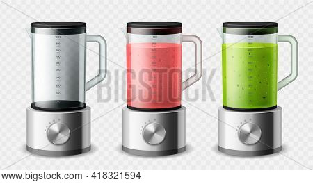 Realistic Blender. Isolated 3d Steel Mixer Empty And With Different Types Fruit Detox Smoothies, Kit