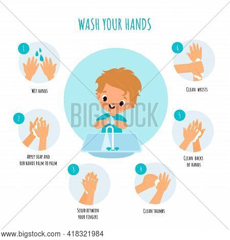 Hand Washing Technique. Little Boy Arms Hygiene, Right Cleaning With Antibacterial Agents Schemes, S