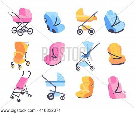 Childish Strollers. Different Baby Buggies And Car Seats, Blue Pink And Yellow Perambulator Or Boost