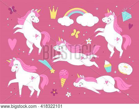 Cute Unicorns. Pink Beautiful Magic Pony Characters, Little Girl Decorative Animals And Items, Sweet