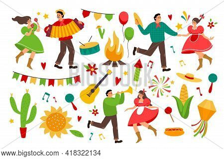 Festa Junina. Folklore Latin America Holiday Collection, Festive Bright Colorful Items, Farmers Part
