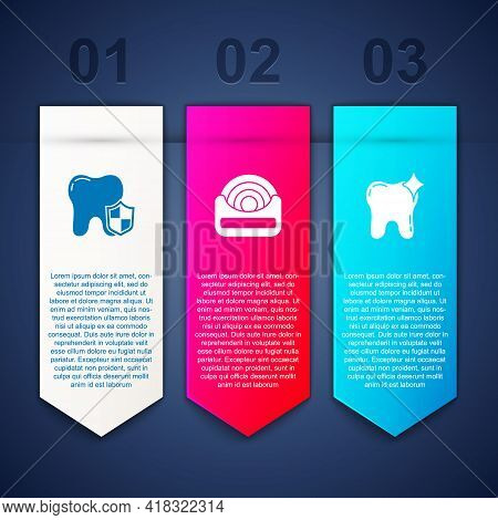 Set Dental Protection, Floss And Tooth Whitening. Business Infographic Template. Vector