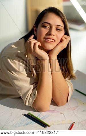 Female Artist. Art School. Inspiration Muse. Creative Hobby. Professional Designer. Smiling Thoughtf