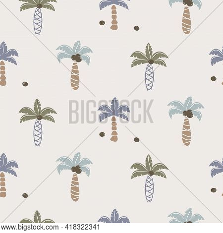 Cute Coconut Palm Trees Seamless Pattern Print For Kids Apparel And Bedding.