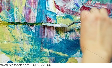 Abstract Artwork. Painting Process. Professional Art. Leisure Hobby. Inspiration Muse. Unrecognizabl