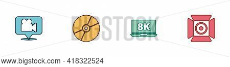 Set Camera And Location, Cd Or Dvd Disk, Laptop With 8k And Movie Spotlight Icon. Vector