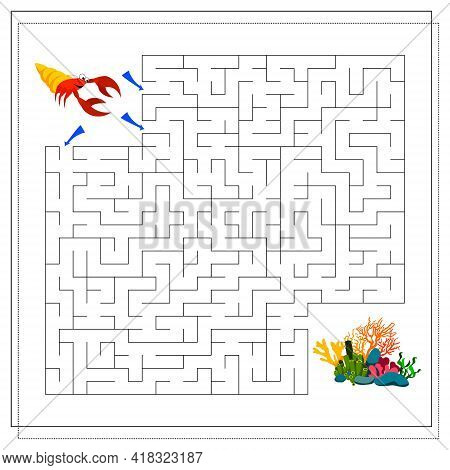 A Maze Game For Kids. Guide The Crayfish Through The Maze To The Corals. Vector Isolated On A White