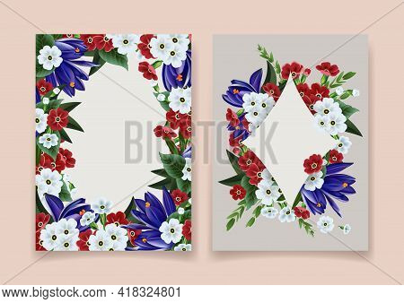 Illustration Of Greeting, Wedding Or Invitation Card Template With Crocus And Primrose Flowers