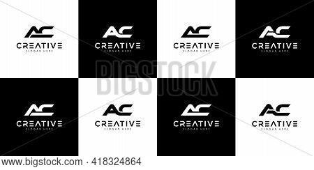 Set Of Initials Letter Ac Logo Design