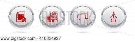 Set Line Transfer Files, Dental Clinic, Chat And Fountain Pen Nib. Silver Circle Button. Vector