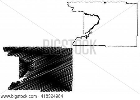 Columbia County, State Of Wisconsin (u.s. County, United States Of America, Us) Map Vector Illustrat