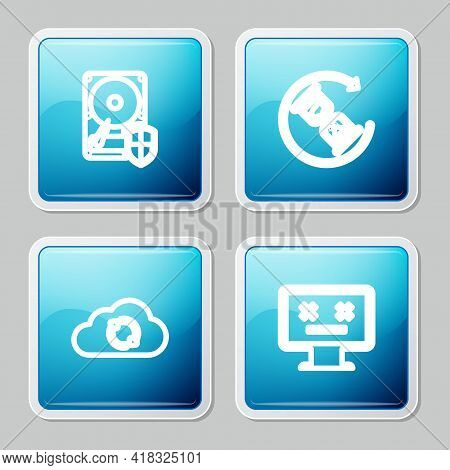 Set Line Hard Disk Drive Hdd Protection, Waiting, Cloud Sync Refresh And Dead Monitor Icon. Vector