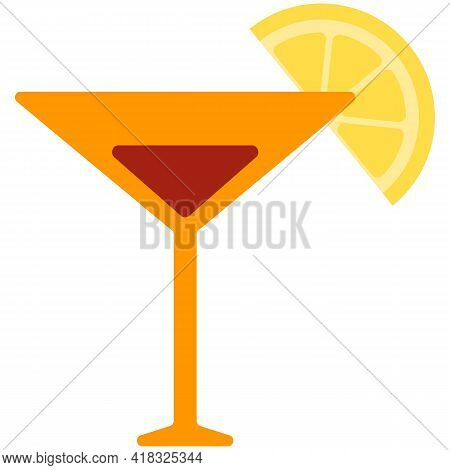 Cosmopolitan Cocktail Or Martini Drink In Glass Vector