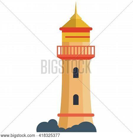 Vector Lighthouse Illustration, Seashore Beacon Tower Logo