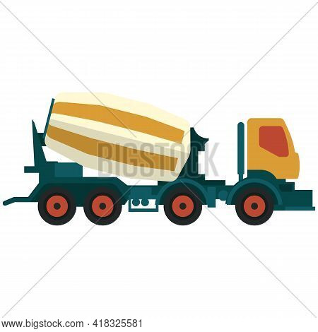 Truck Concrete And Cement Mixer Vector Construction Vehicle