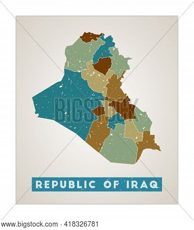 Republic Of Iraq Map. Country Poster With Regions. Old Grunge Texture. Shape Of Republic Of Iraq Wit