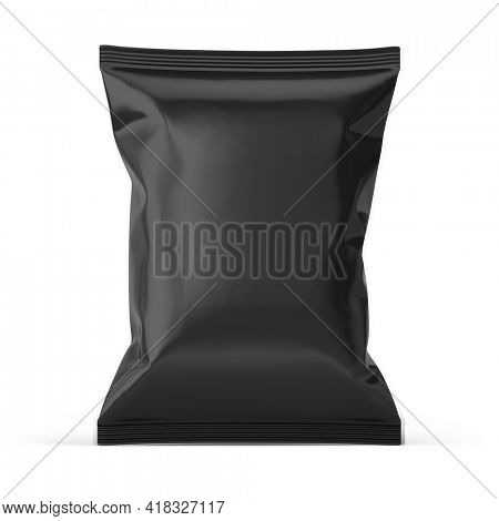 Blank black plastic bag. Food snack, chips packaging isolated on white beckground. 3d rendering mockup template