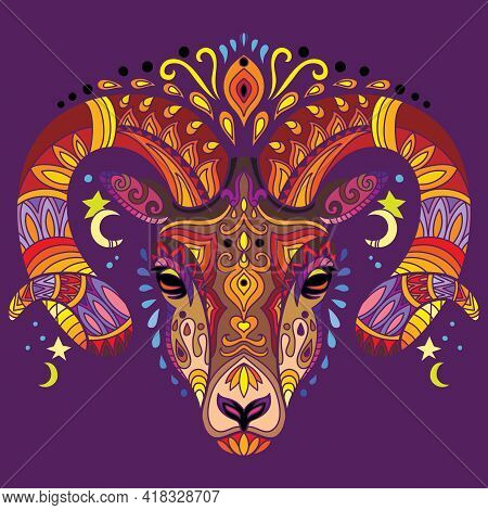 Head Of Ram With Doodle And Zentangle Elements. Abstract Vector Colorful Illustration Isolated On Pu