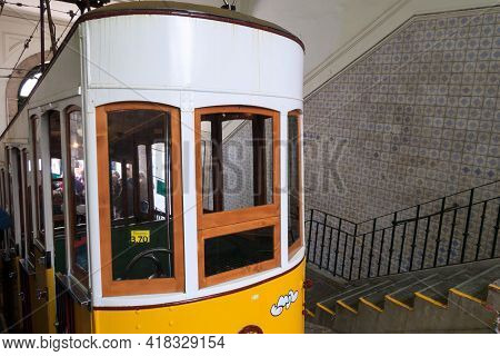 Lisbon, Portugal - March 29, 2018: Yellow Funicular Tram Tram, Symbol Of Lisbon Close-up View