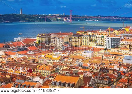 Lisbon, Portugal Panoramic View With River Tagus And Ponte De 25th Abril Bridge