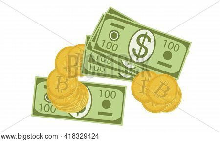 Heap Of 100 Us Dollar Bills And Stack Of Virtual Bitcoin Coins Isolated On White Background. Us Doll