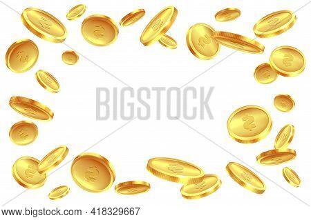 Coins Explosion Gold. Flying Golden Treasure, Dollar Sign, Gambling Game Jackpot, Casino Bingo Symbo